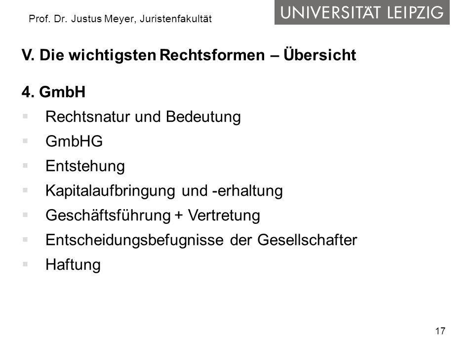 17 Prof. Dr. Justus Meyer, Juristenfakultät V. Die wichtigsten Rechtsformen – Übersicht 4. GmbH Rechtsnatur und Bedeutung GmbHG Entstehung Kapitalaufb