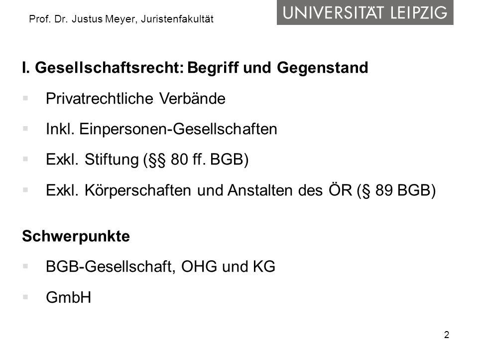 2 Prof. Dr. Justus Meyer, Juristenfakultät I. Gesellschaftsrecht: Begriff und Gegenstand Privatrechtliche Verbände Inkl. Einpersonen-Gesellschaften Ex