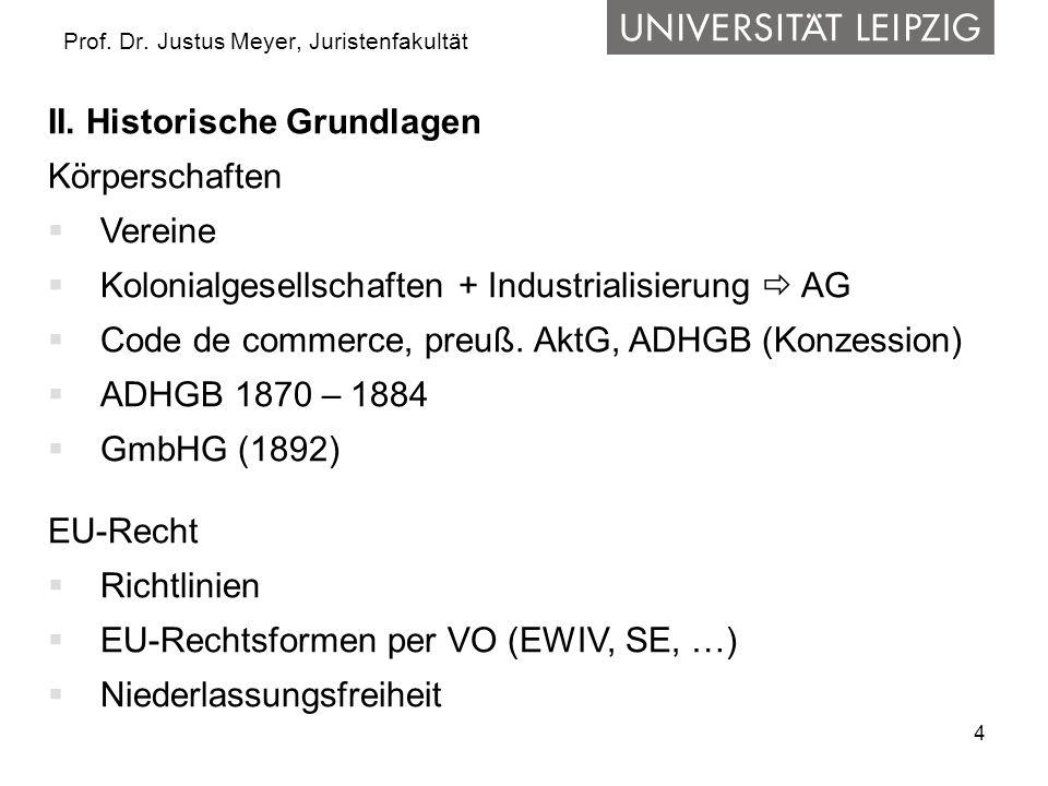 15 Prof.Dr. Justus Meyer, Juristenfakultät V. Die wichtigsten Rechtsformen – Übersicht 3.