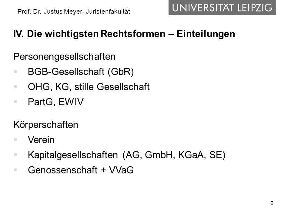 6 Prof. Dr. Justus Meyer, Juristenfakultät IV. Die wichtigsten Rechtsformen – Einteilungen Personengesellschaften BGB-Gesellschaft (GbR) OHG, KG, stil