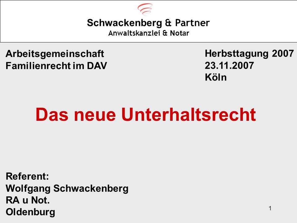 1 Schwackenberg & Partner Anwaltskanzlei & Notar Arbeitsgemeinschaft Familienrecht im DAV Herbsttagung 2007 23.11.2007 Köln Referent: Wolfgang Schwack