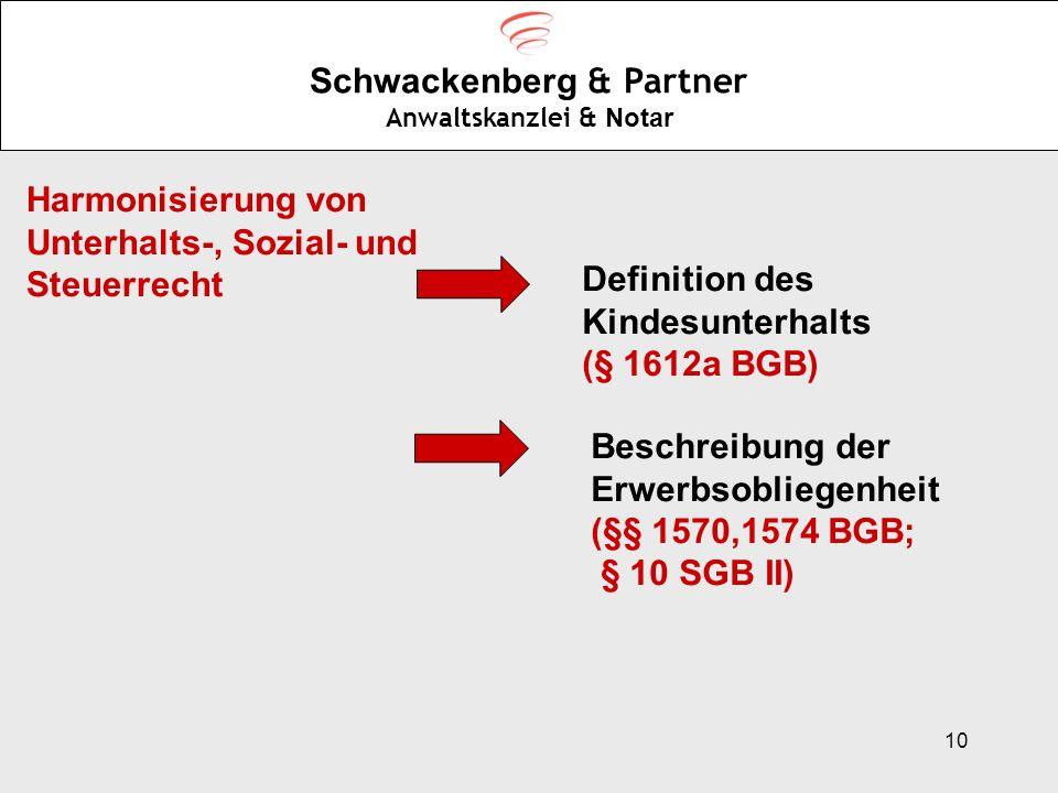 10 Schwackenberg & Partner Anwaltskanzlei & Notar Harmonisierung von Unterhalts-, Sozial- und Steuerrecht Definition des Kindesunterhalts (§ 1612a BGB