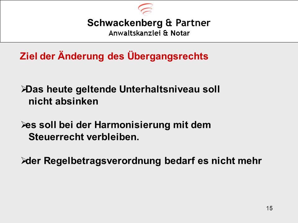 15 Schwackenberg & Partner Anwaltskanzlei & Notar Ziel der Änderung des Übergangsrechts Das heute geltende Unterhaltsniveau soll nicht absinken es sol