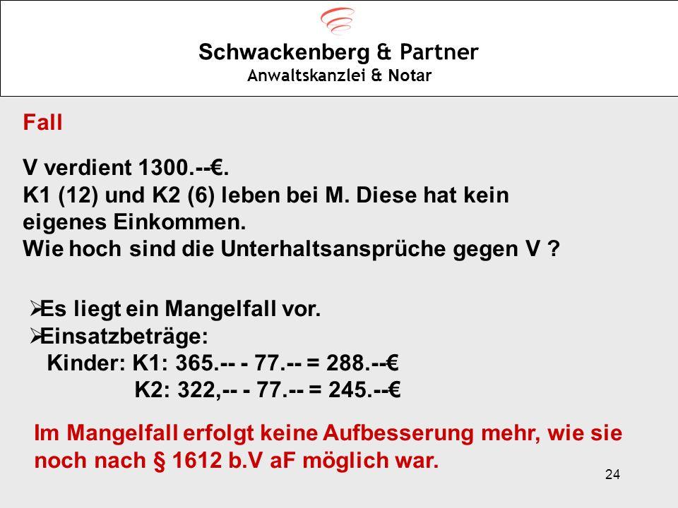 24 Schwackenberg & Partner Anwaltskanzlei & Notar Fall V verdient 1300.--. K1 (12) und K2 (6) leben bei M. Diese hat kein eigenes Einkommen. Wie hoch
