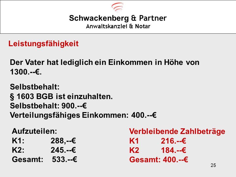 25 Schwackenberg & Partner Anwaltskanzlei & Notar Leistungsfähigkeit Der Vater hat lediglich ein Einkommen in Höhe von 1300.--. Selbstbehalt: § 1603 B
