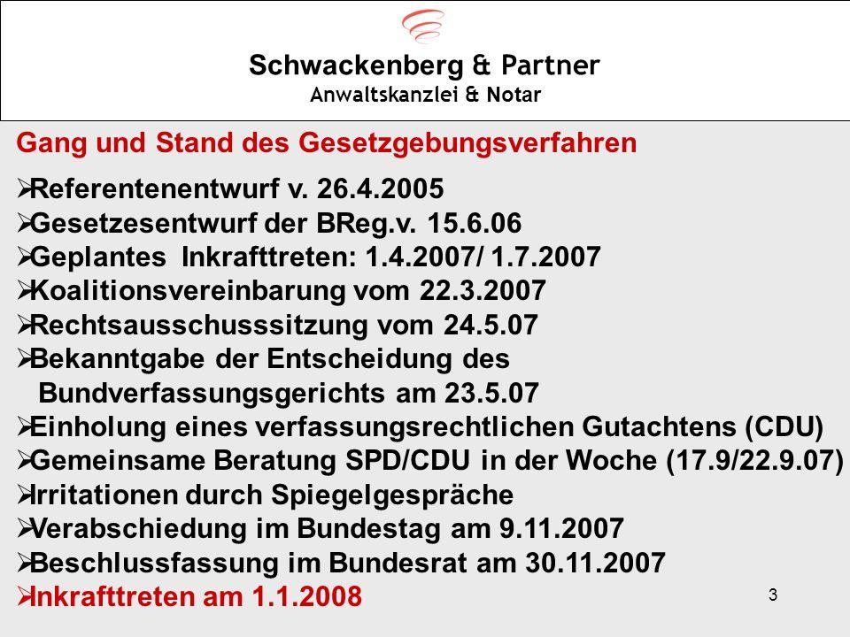 3 Schwackenberg & Partner Anwaltskanzlei & Notar Gang und Stand des Gesetzgebungsverfahren Referentenentwurf v. 26.4.2005 Gesetzesentwurf der BReg.v.