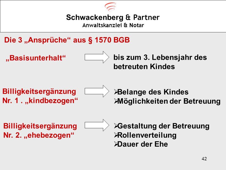 42 Schwackenberg & Partner Anwaltskanzlei & Notar Die 3 Ansprüche aus § 1570 BGB Basisunterhalt bis zum 3. Lebensjahr des betreuten Kindes Billigkeits