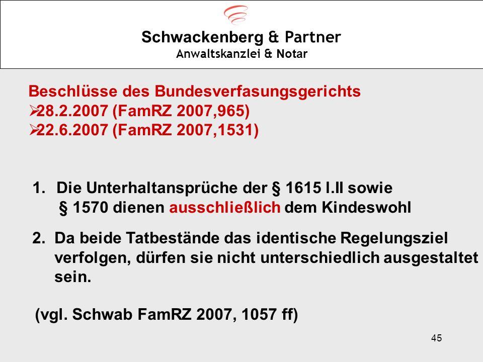 45 Schwackenberg & Partner Anwaltskanzlei & Notar Beschlüsse des Bundesverfasungsgerichts 28.2.2007 (FamRZ 2007,965) 22.6.2007 (FamRZ 2007,1531) 1.Die
