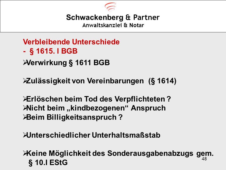 48 Schwackenberg & Partner Anwaltskanzlei & Notar Verbleibende Unterschiede - § 1615. l BGB Verwirkung § 1611 BGB Zulässigkeit von Vereinbarungen (§ 1