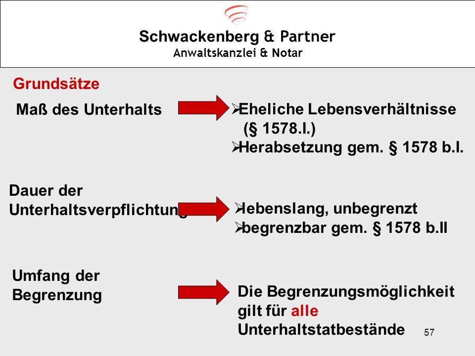 57 Schwackenberg & Partner Anwaltskanzlei & Notar Grundsätze Maß des Unterhalts Eheliche Lebensverhältnisse (§ 1578.I.) Herabsetzung gem. § 1578 b.I.
