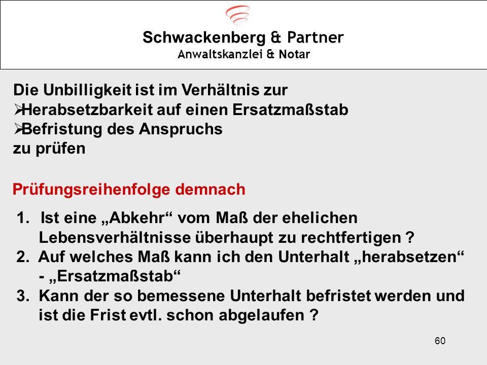 60 Schwackenberg & Partner Anwaltskanzlei & Notar Die Unbilligkeit ist im Verhältnis zur Herabsetzbarkeit auf einen Ersatzmaßstab Befristung des Anspr