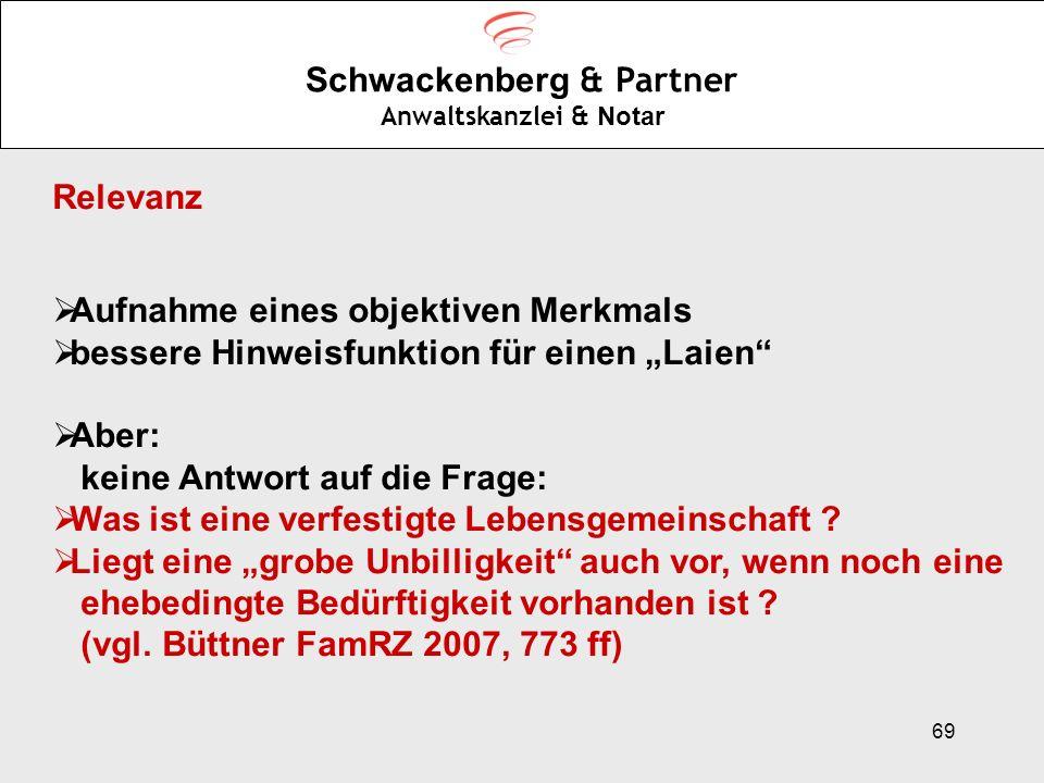 69 Schwackenberg & Partner Anwaltskanzlei & Notar Relevanz Aufnahme eines objektiven Merkmals bessere Hinweisfunktion für einen Laien Aber: keine Antw