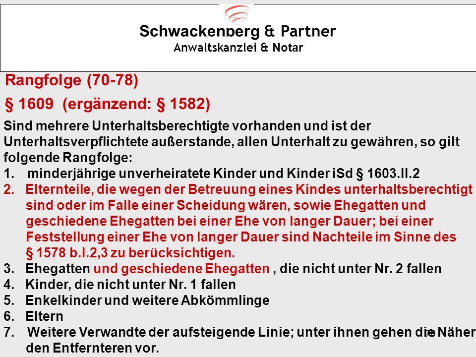 70 Schwackenberg & Partner Anwaltskanzlei & Notar Rangfolge (70-78) § 1609 (ergänzend: § 1582) Sind mehrere Unterhaltsberechtigte vorhanden und ist de