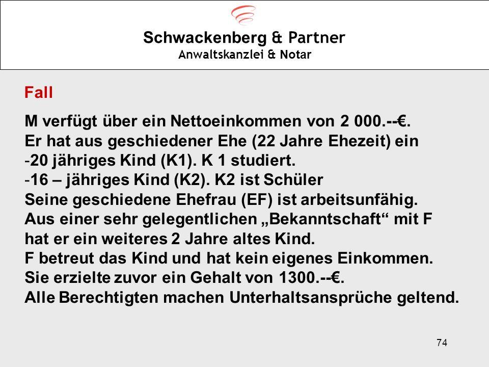 74 Schwackenberg & Partner Anwaltskanzlei & Notar Fall M verfügt über ein Nettoeinkommen von 2 000.--. Er hat aus geschiedener Ehe (22 Jahre Ehezeit)