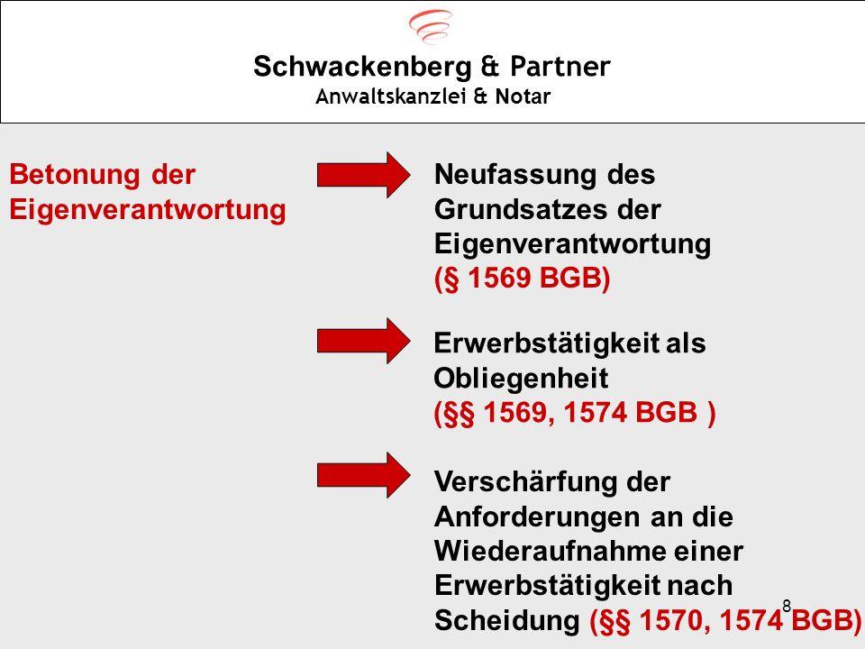 8 Schwackenberg & Partner Anwaltskanzlei & Notar Betonung der Eigenverantwortung Neufassung des Grundsatzes der Eigenverantwortung (§ 1569 BGB) Erwerb