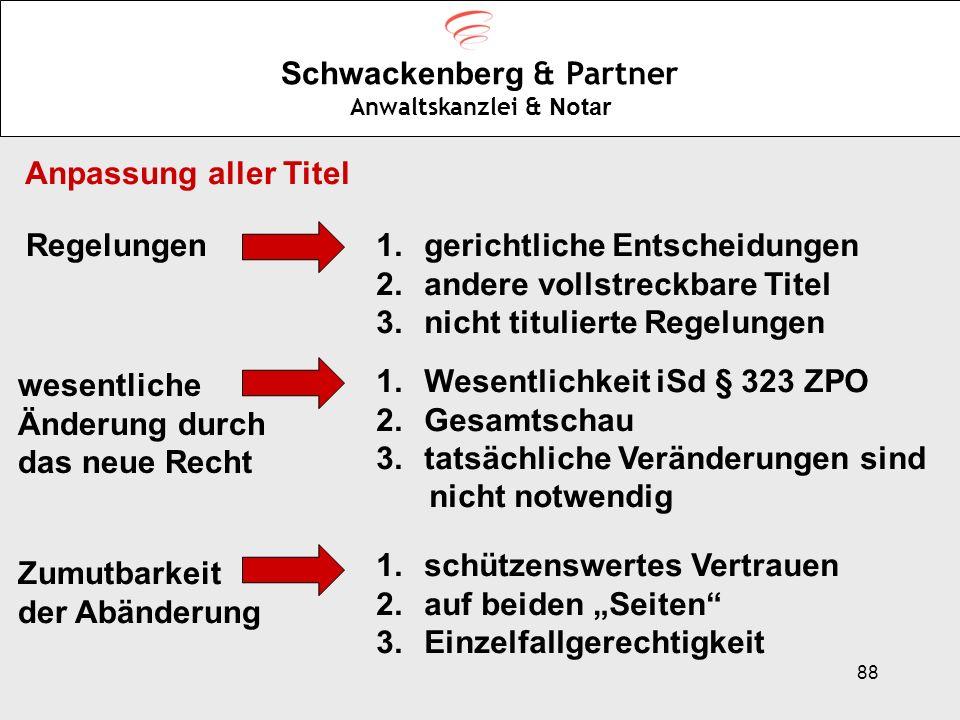 88 Schwackenberg & Partner Anwaltskanzlei & Notar Anpassung aller Titel Regelungen1.gerichtliche Entscheidungen 2.andere vollstreckbare Titel 3.nicht