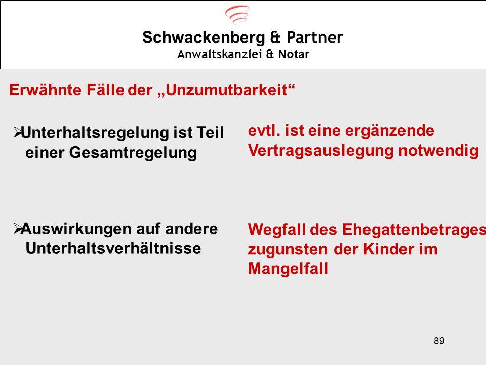 89 Schwackenberg & Partner Anwaltskanzlei & Notar Erwähnte Fälle der Unzumutbarkeit Unterhaltsregelung ist Teil einer Gesamtregelung Auswirkungen auf