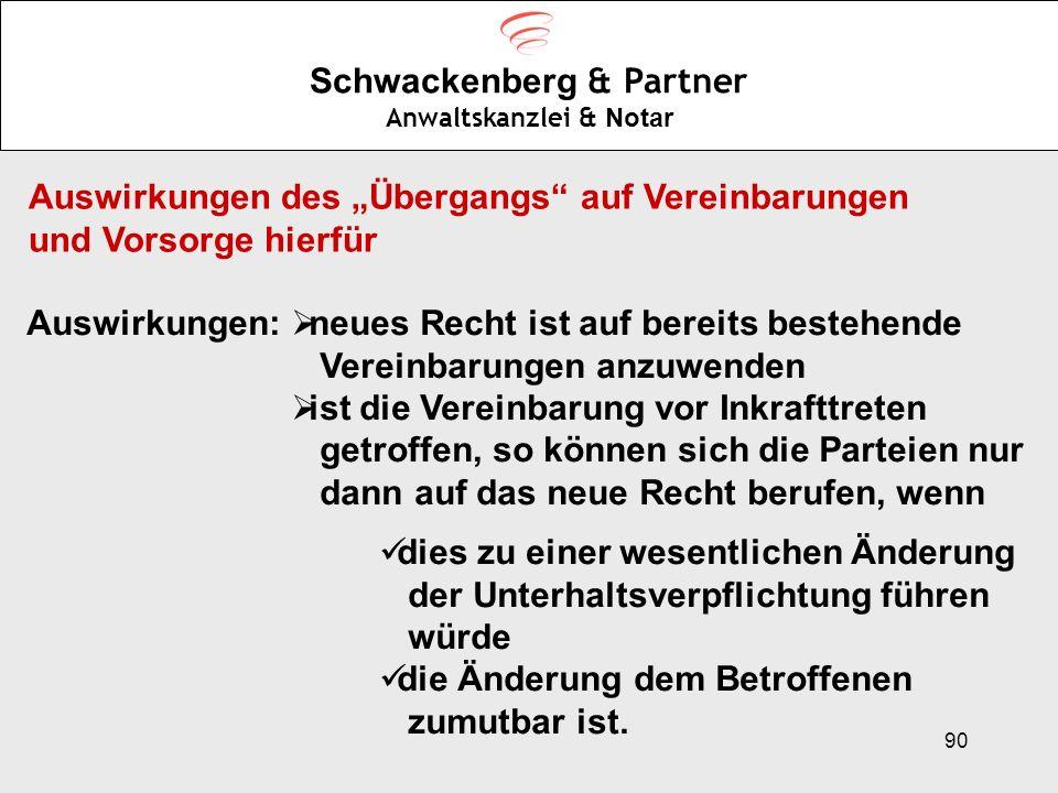 90 Schwackenberg & Partner Anwaltskanzlei & Notar Auswirkungen des Übergangs auf Vereinbarungen und Vorsorge hierfür Auswirkungen: neues Recht ist auf