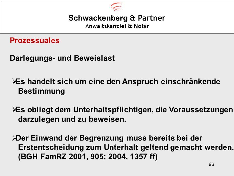 96 Schwackenberg & Partner Anwaltskanzlei & Notar Prozessuales Darlegungs- und Beweislast Es handelt sich um eine den Anspruch einschränkende Bestimmu