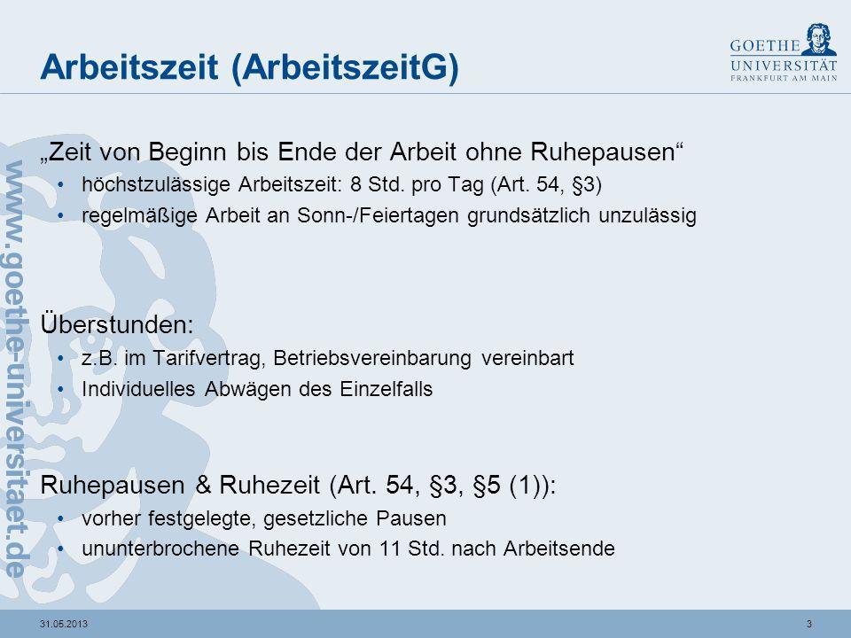 431.05.2013 Urlaub (BundesurlaubsG) bezahlter Anspruch: 24Tage pro Kalenderjahr (Art.