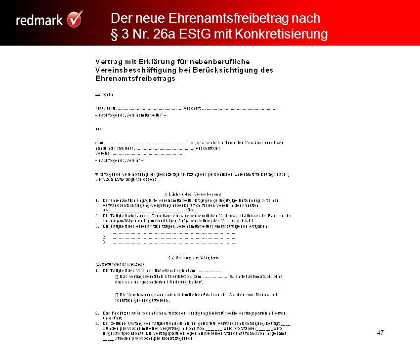 Rechtsanwalt Prof.Gerhard Geckle, Freiburg47 Der neue Ehrenamtsfreibetrag nach § 3 Nr.
