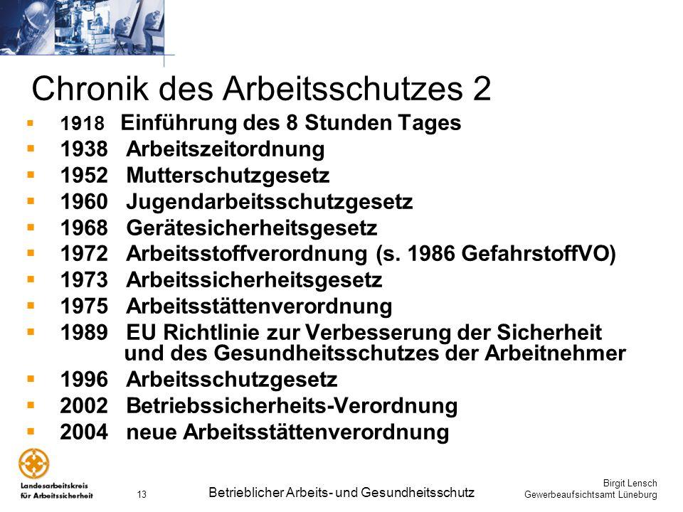 Birgit Lensch Gewerbeaufsichtsamt Lüneburg Betrieblicher Arbeits- und Gesundheitsschutz 13 Chronik des Arbeitsschutzes 2 1918 Einführung des 8 Stunden