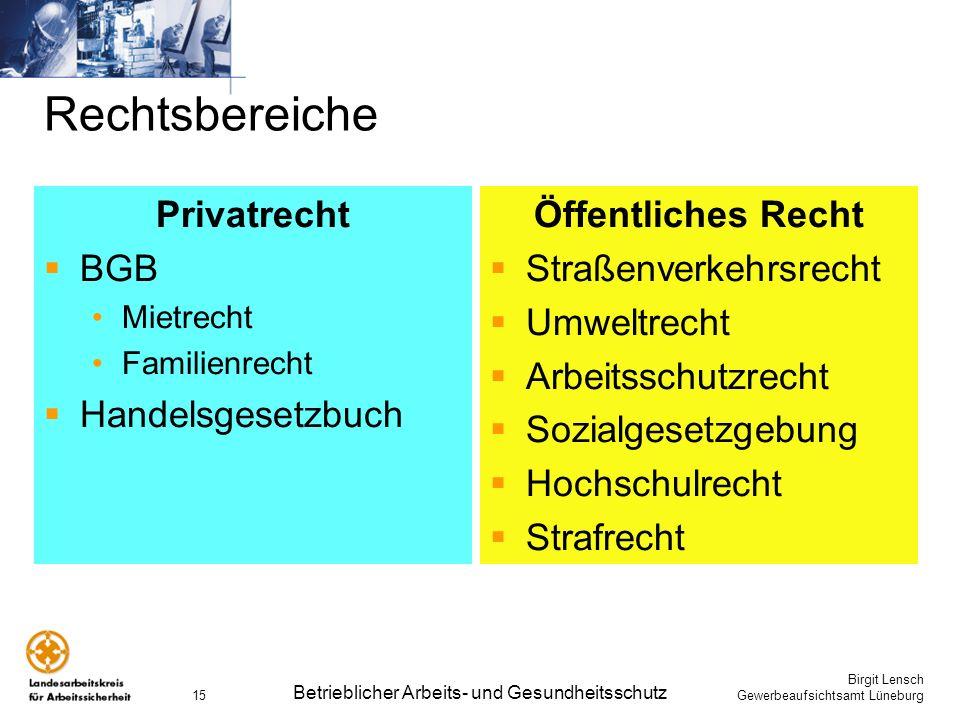 Birgit Lensch Gewerbeaufsichtsamt Lüneburg Betrieblicher Arbeits- und Gesundheitsschutz 15 Rechtsbereiche Privatrecht BGB Mietrecht Familienrecht Hand