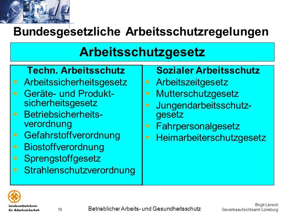 Birgit Lensch Gewerbeaufsichtsamt Lüneburg Betrieblicher Arbeits- und Gesundheitsschutz 19 Bundesgesetzliche Arbeitsschutzregelungen Techn. Arbeitssch