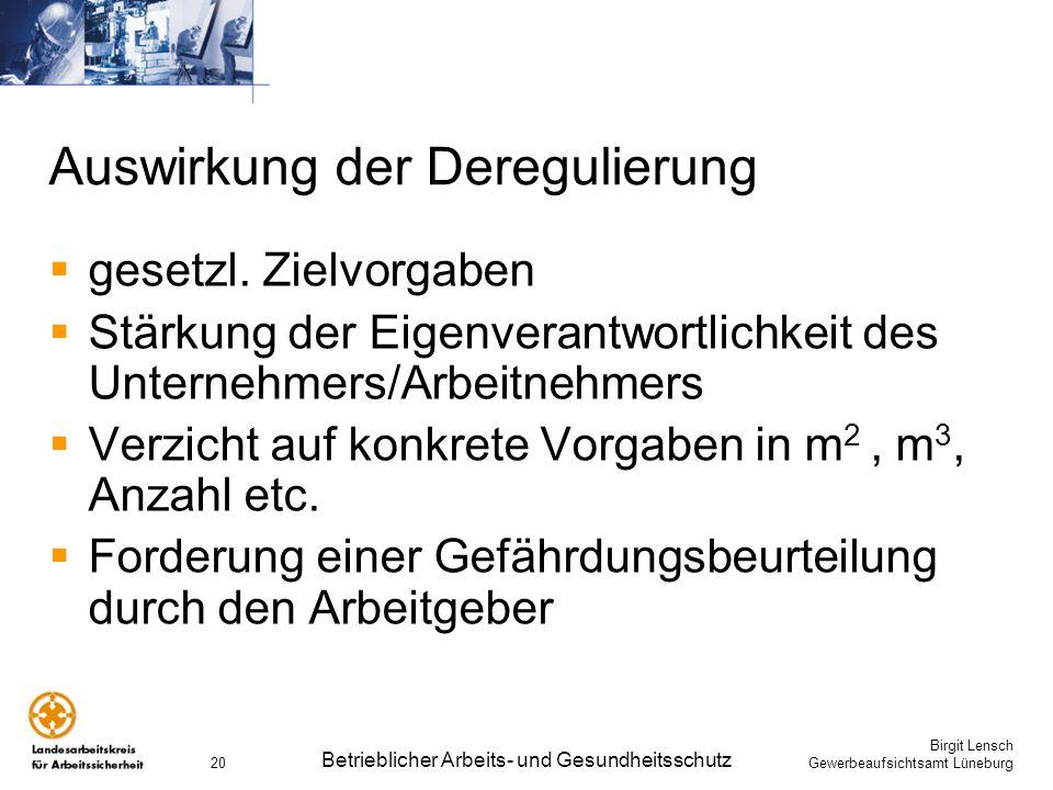 Birgit Lensch Gewerbeaufsichtsamt Lüneburg Betrieblicher Arbeits- und Gesundheitsschutz 20 Auswirkung der Deregulierung gesetzl. Zielvorgaben Stärkung