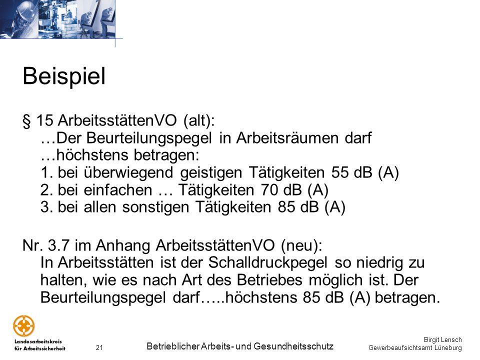 Birgit Lensch Gewerbeaufsichtsamt Lüneburg Betrieblicher Arbeits- und Gesundheitsschutz 21 Beispiel § 15 ArbeitsstättenVO (alt): …Der Beurteilungspege