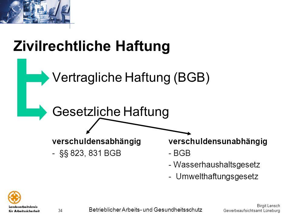 Birgit Lensch Gewerbeaufsichtsamt Lüneburg Betrieblicher Arbeits- und Gesundheitsschutz 34 Zivilrechtliche Haftung Vertragliche Haftung (BGB) Gesetzli
