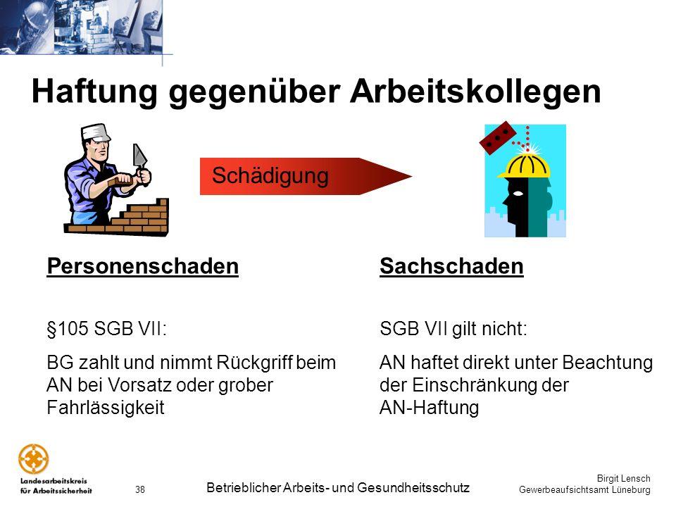 Birgit Lensch Gewerbeaufsichtsamt Lüneburg Betrieblicher Arbeits- und Gesundheitsschutz 38 Haftung gegenüber Arbeitskollegen Personenschaden §105 SGB