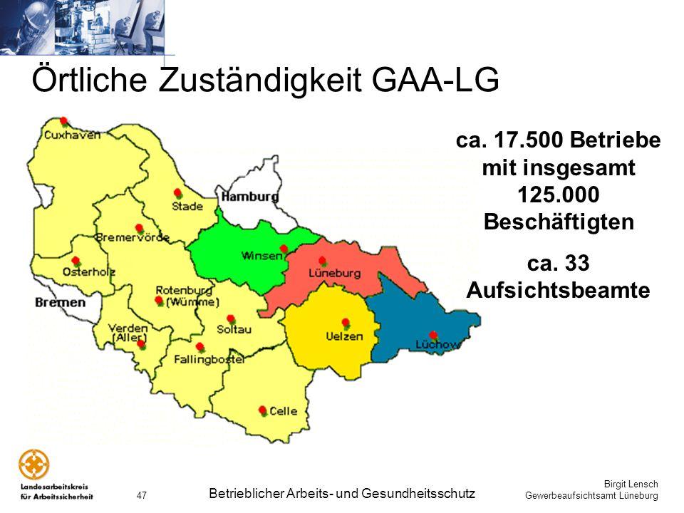 Birgit Lensch Gewerbeaufsichtsamt Lüneburg Betrieblicher Arbeits- und Gesundheitsschutz 47 Örtliche Zuständigkeit GAA-LG ca. 17.500 Betriebe mit insge