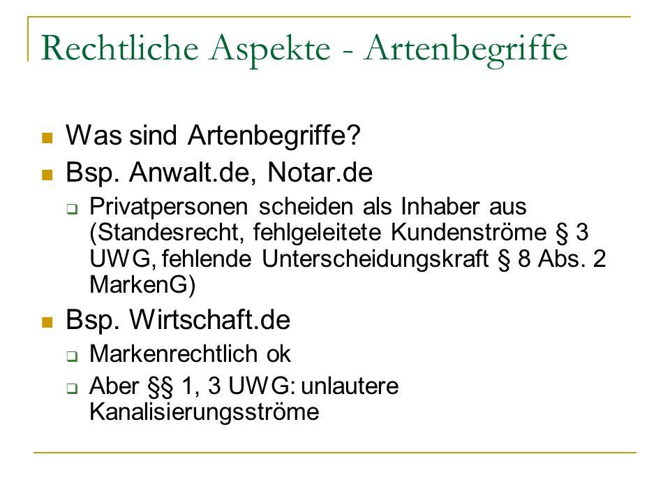 Rechtliche Aspekte - Artenbegriffe Was sind Artenbegriffe? Bsp. Anwalt.de, Notar.de Privatpersonen scheiden als Inhaber aus (Standesrecht, fehlgeleite