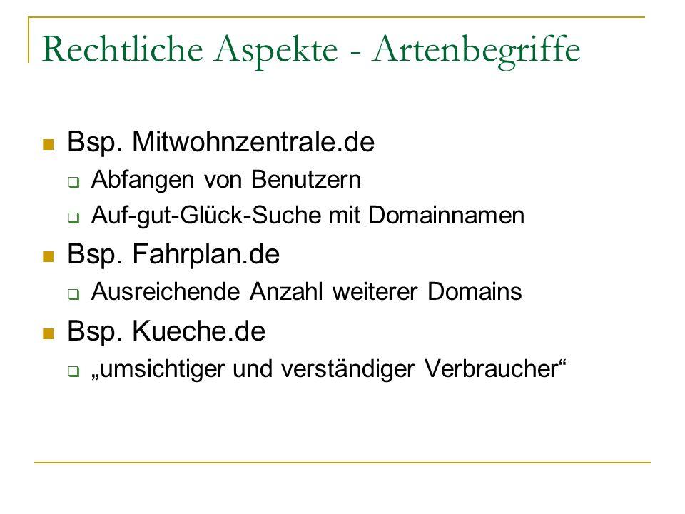 Rechtliche Aspekte - Artenbegriffe Bsp. Mitwohnzentrale.de Abfangen von Benutzern Auf-gut-Glück-Suche mit Domainnamen Bsp. Fahrplan.de Ausreichende An