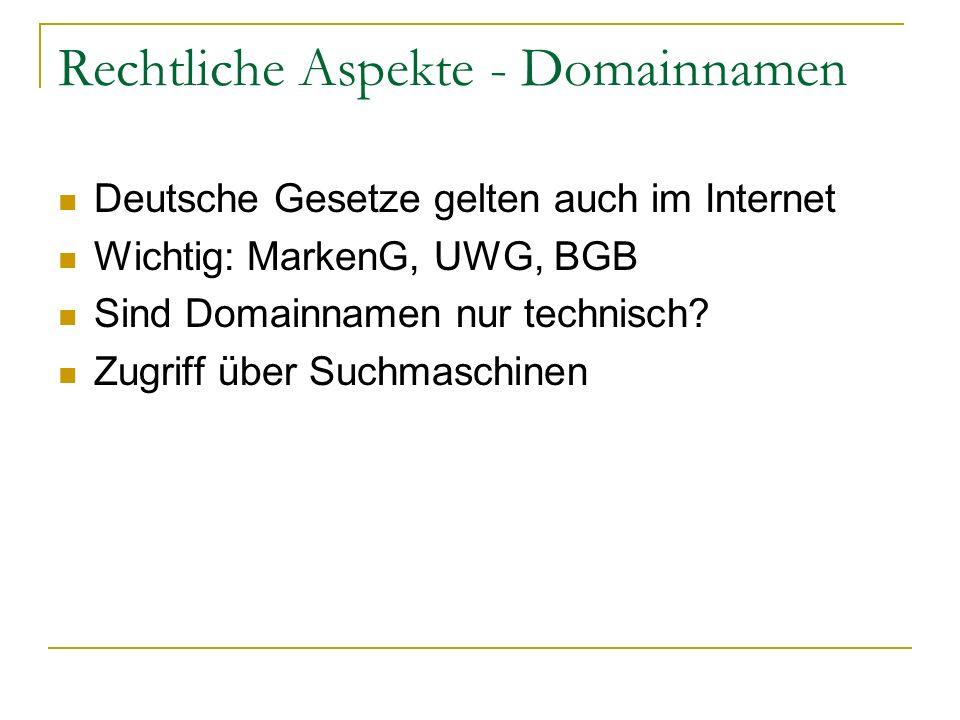 Rechtliche Aspekte - Domainnamen Deutsche Gesetze gelten auch im Internet Wichtig: MarkenG, UWG, BGB Sind Domainnamen nur technisch? Zugriff über Such
