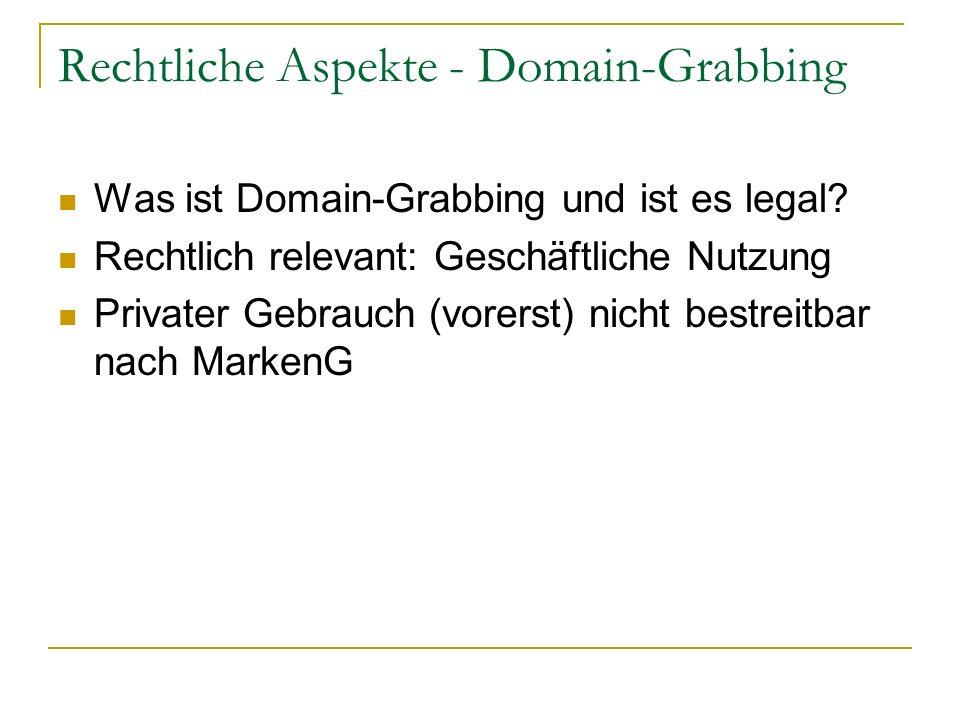 Rechtliche Aspekte - Domain-Grabbing Was ist Domain-Grabbing und ist es legal? Rechtlich relevant: Geschäftliche Nutzung Privater Gebrauch (vorerst) n