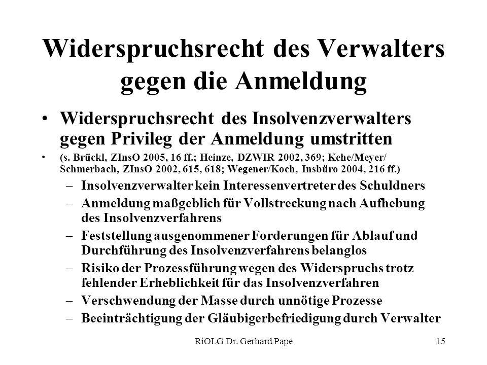 RiOLG Dr. Gerhard Pape15 Widerspruchsrecht des Verwalters gegen die Anmeldung Widerspruchsrecht des Insolvenzverwalters gegen Privileg der Anmeldung u