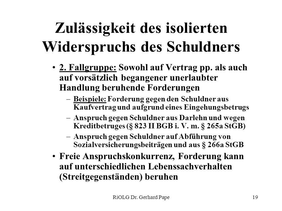 RiOLG Dr. Gerhard Pape19 Zulässigkeit des isolierten Widerspruchs des Schuldners 2. Fallgruppe: Sowohl auf Vertrag pp. als auch auf vorsätzlich begang