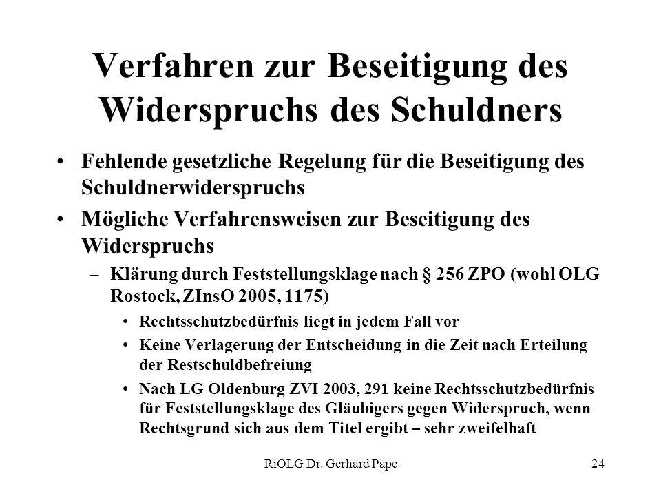 RiOLG Dr. Gerhard Pape24 Verfahren zur Beseitigung des Widerspruchs des Schuldners Fehlende gesetzliche Regelung für die Beseitigung des Schuldnerwide