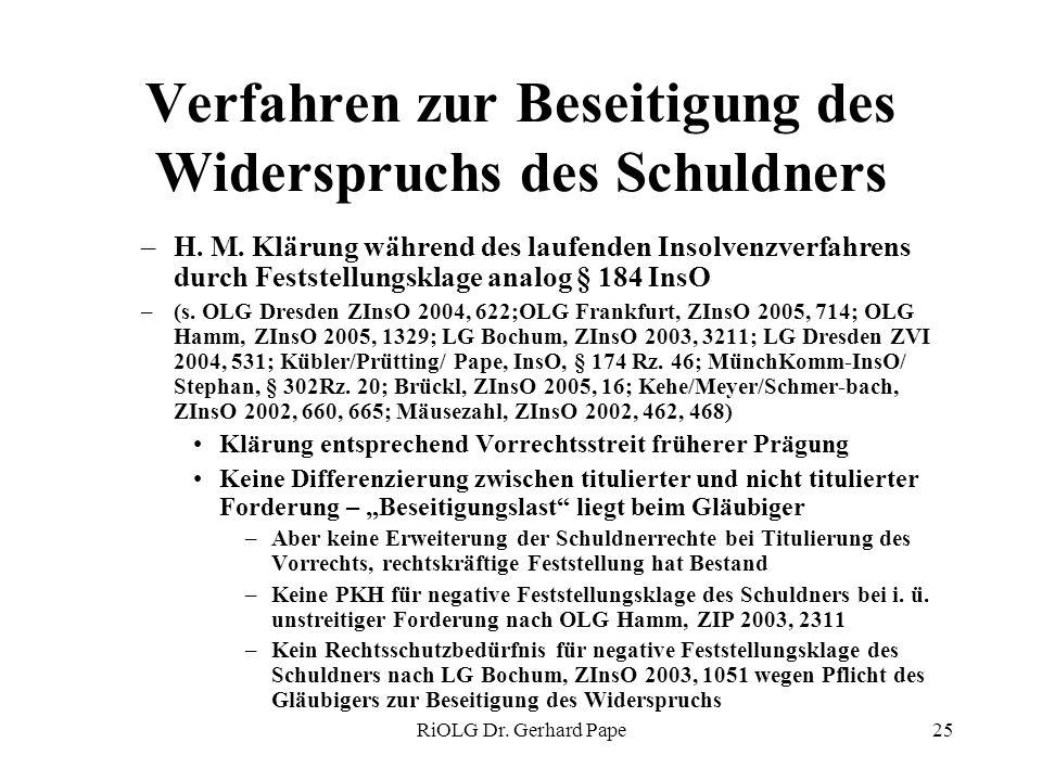 RiOLG Dr. Gerhard Pape25 Verfahren zur Beseitigung des Widerspruchs des Schuldners –H. M. Klärung während des laufenden Insolvenzverfahrens durch Fest