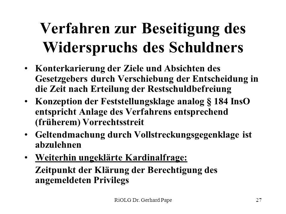 RiOLG Dr. Gerhard Pape27 Verfahren zur Beseitigung des Widerspruchs des Schuldners Konterkarierung der Ziele und Absichten des Gesetzgebers durch Vers