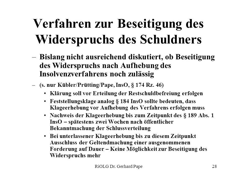RiOLG Dr. Gerhard Pape28 Verfahren zur Beseitigung des Widerspruchs des Schuldners –Bislang nicht ausreichend diskutiert, ob Beseitigung des Widerspru