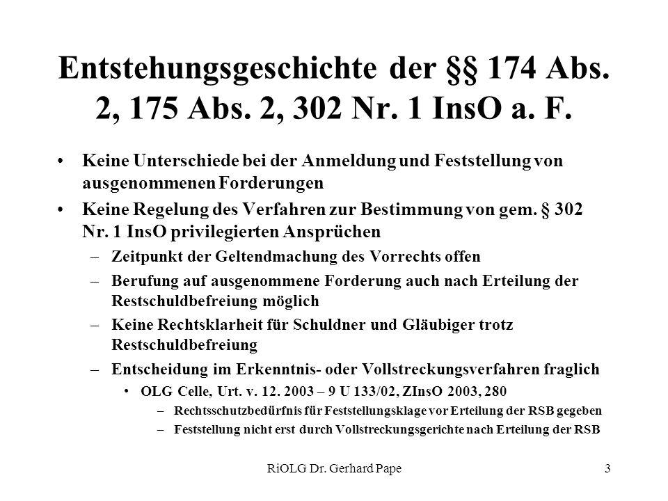 RiOLG Dr. Gerhard Pape3 Entstehungsgeschichte der §§ 174 Abs. 2, 175 Abs. 2, 302 Nr. 1 InsO a. F. Keine Unterschiede bei der Anmeldung und Feststellun