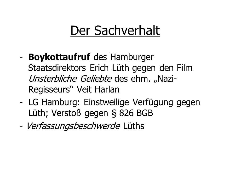 Der Sachverhalt -Boykottaufruf des Hamburger Staatsdirektors Erich Lüth gegen den Film Unsterbliche Geliebte des ehm. Nazi- Regisseurs Veit Harlan -LG