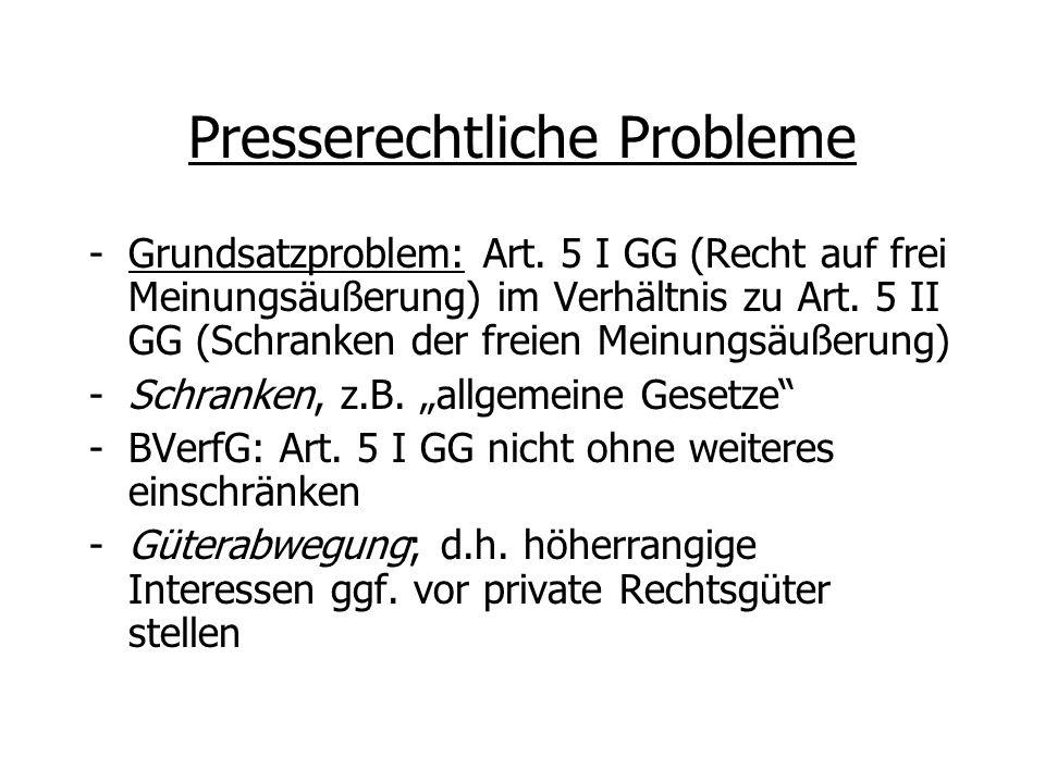 Presserechtliche Probleme -Grundsatzproblem: Art. 5 I GG (Recht auf frei Meinungsäußerung) im Verhältnis zu Art. 5 II GG (Schranken der freien Meinung