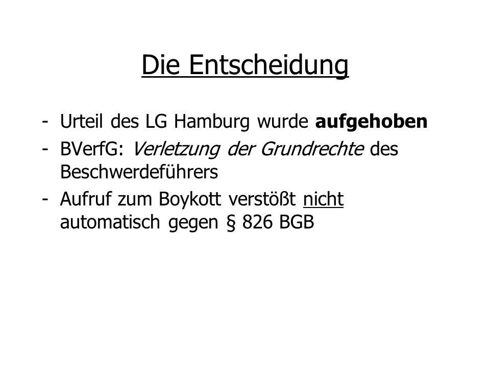 Die Entscheidung -Urteil des LG Hamburg wurde aufgehoben -BVerfG: Verletzung der Grundrechte des Beschwerdeführers -Aufruf zum Boykott verstößt nicht