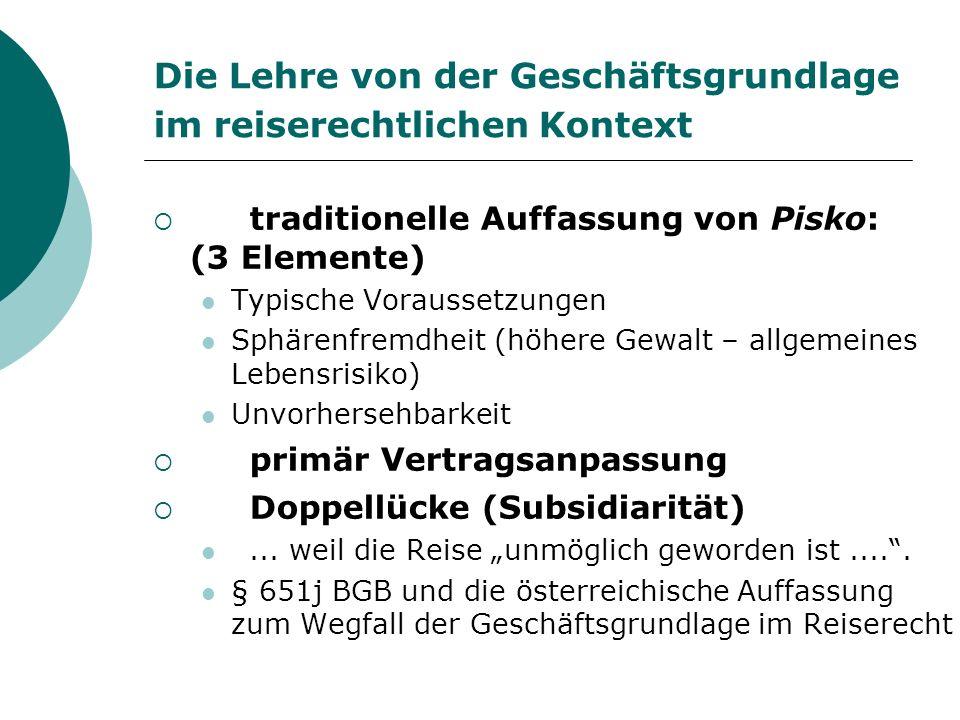 Die Lehre von der Geschäftsgrundlage im reiserechtlichen Kontext traditionelle Auffassung von Pisko: (3 Elemente) Typische Voraussetzungen Sphärenfrem