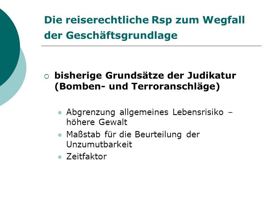 neueste reiserechtliche Entscheidungen zum Wegfall der Geschäftsgrundlage HG Wien 9.