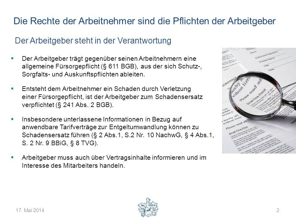 17. Mai 20142 Die Rechte der Arbeitnehmer sind die Pflichten der Arbeitgeber Der Arbeitgeber trägt gegenüber seinen Arbeitnehmern eine allgemeine Fürs
